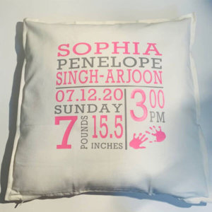 PERSONALIZED BIRTH ANNOUNCEMENT NURSERY PILLOW